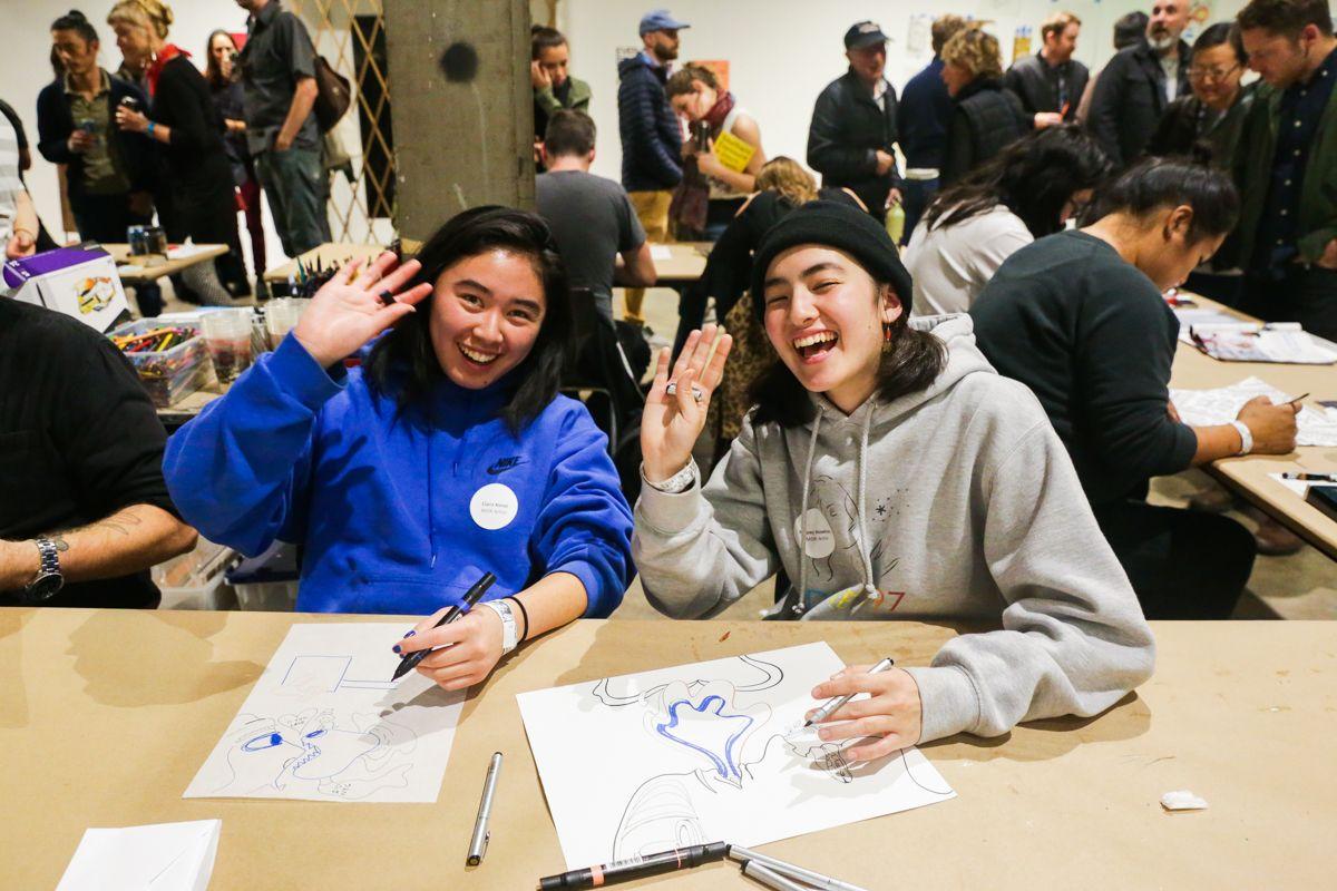 Monster Drawing Rally Artists, Ciara Kosai and Naomi Hawksley